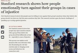 Stanford research shows how people emotionally turn against their groups in cases of injustice
