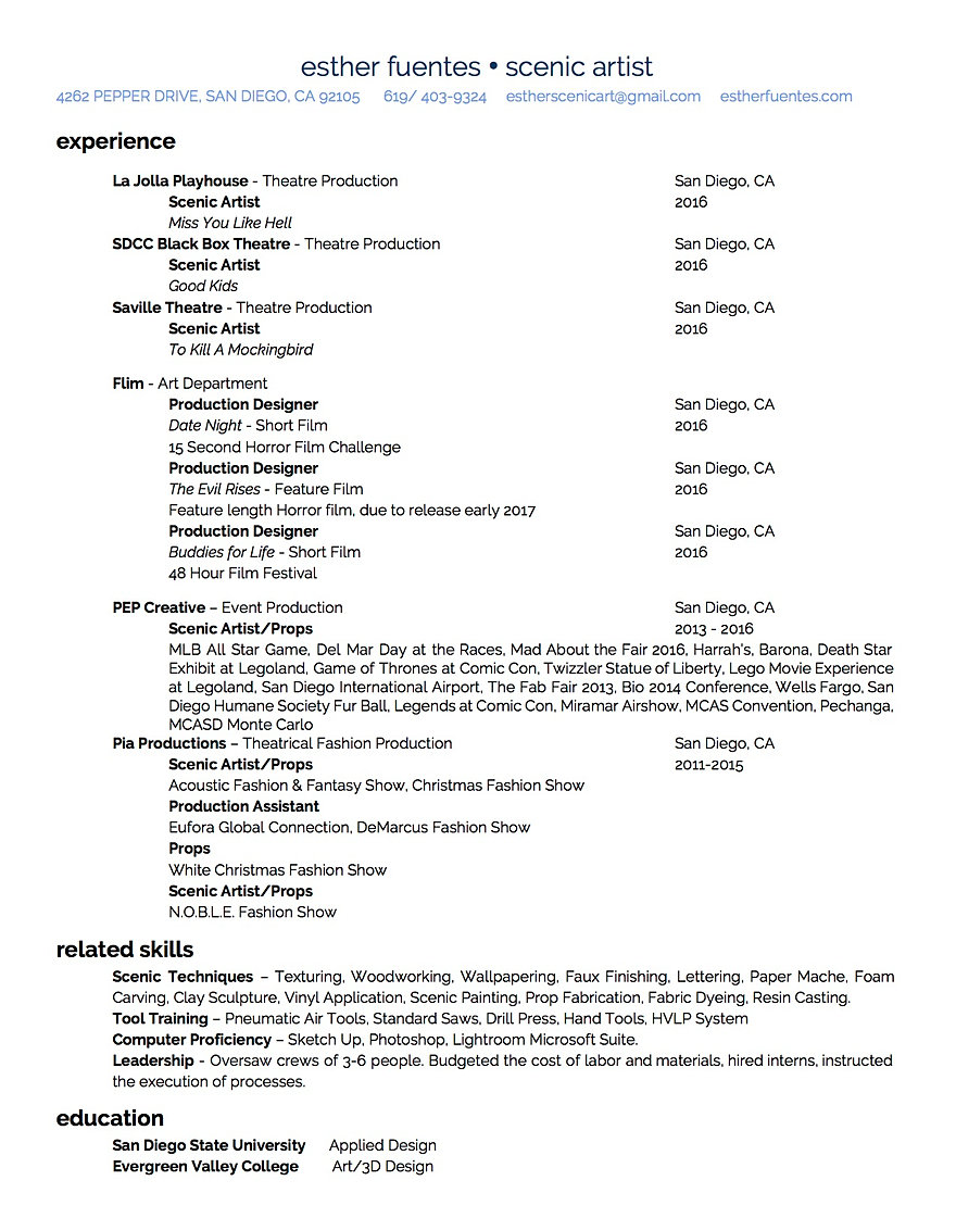 esther fuentes scenic artist resume esther fuentes scenic artist esther fuentes resume