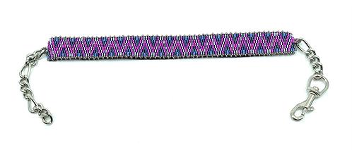 Collier pour chien zigzag rose et bleu