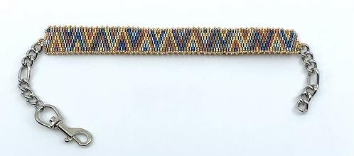 Collier pour chien zigzag bleu et doré