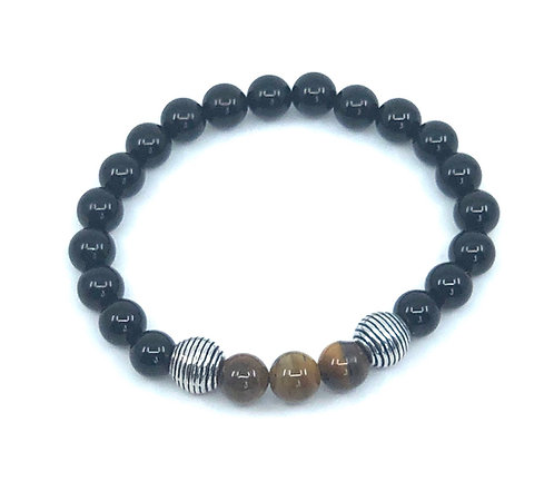 Bracelet homme pierres d'Onyx et Œil-de-Tigre.