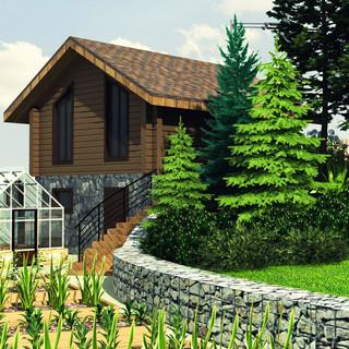 Вид на огород и гараж с хозблоком