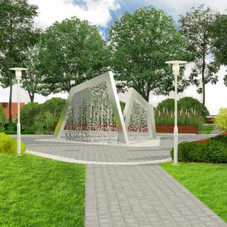 Концепция площади с фонтаном
