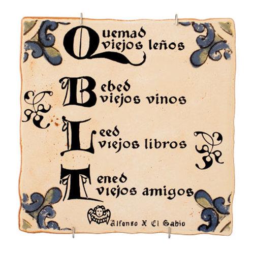 Azulejos Decorativos - Quemao Viejos Leños Bebo Viejos Vinos