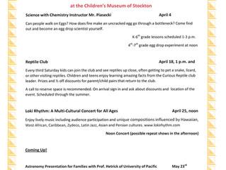Upcoming April and May events at CMS!