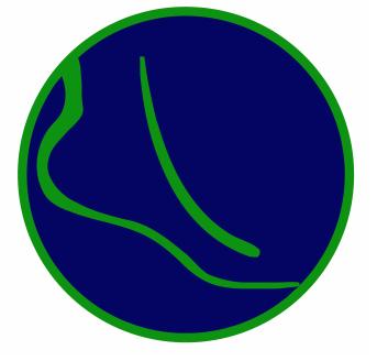 pie azul verde