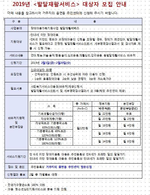 2019년 발달재활서비스 대상자 모집 안내