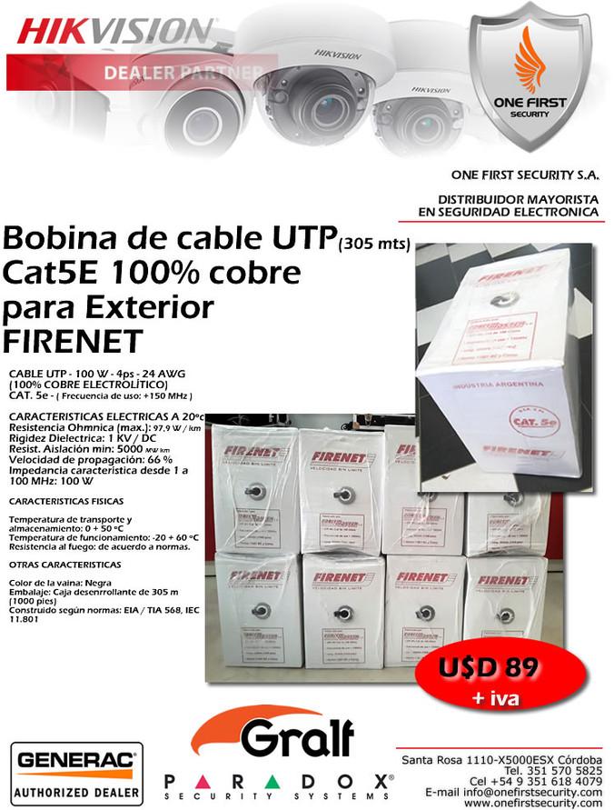 Bobina de cable UTP(305 mts) Cat5E 100% cobre para Exterior  FIRENET