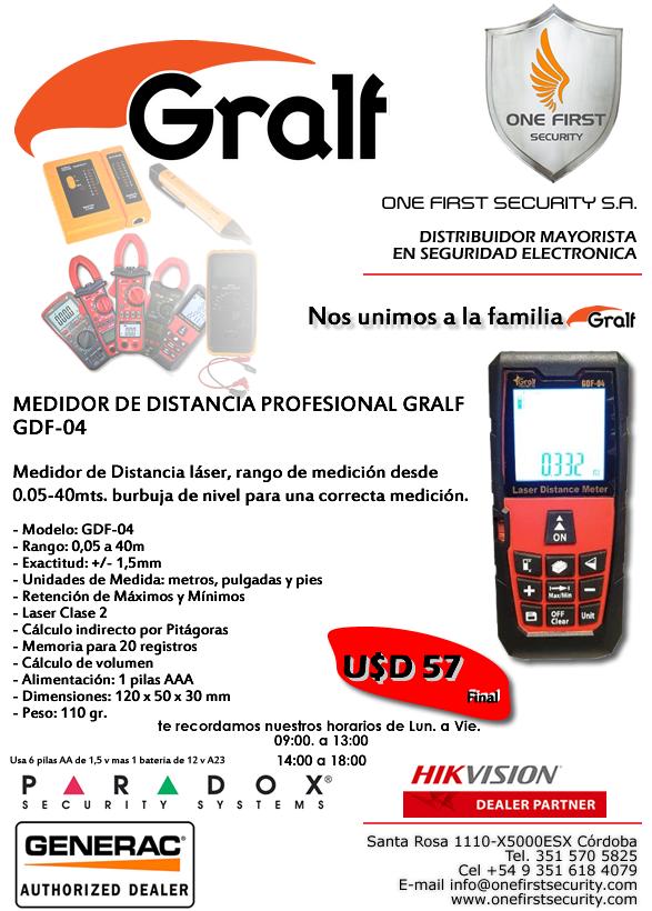 Medidor de distancia laser Gralf Premium GDF04