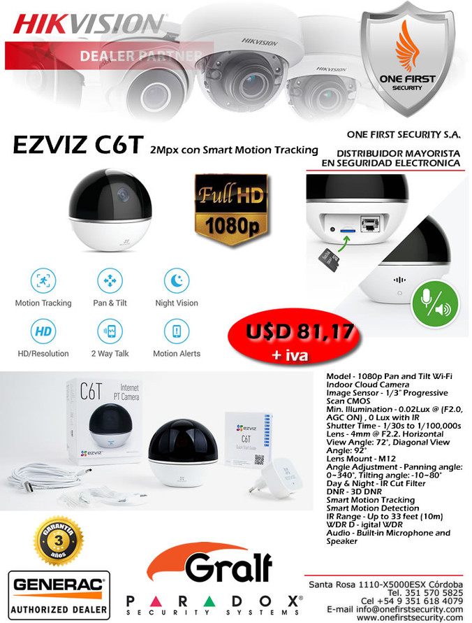 EZVIZ C6T 2Mpx con Smart Motion Tracking