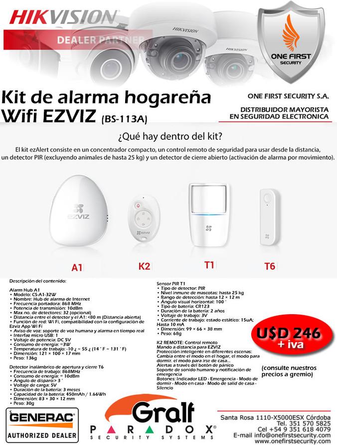 Kit de alarma hogareña Wifi EZVIZ (BS-113A)