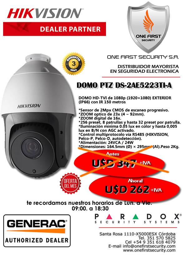 Continua la Oferta de Agosto DOMO PTZ DS-2AE5223TI-A