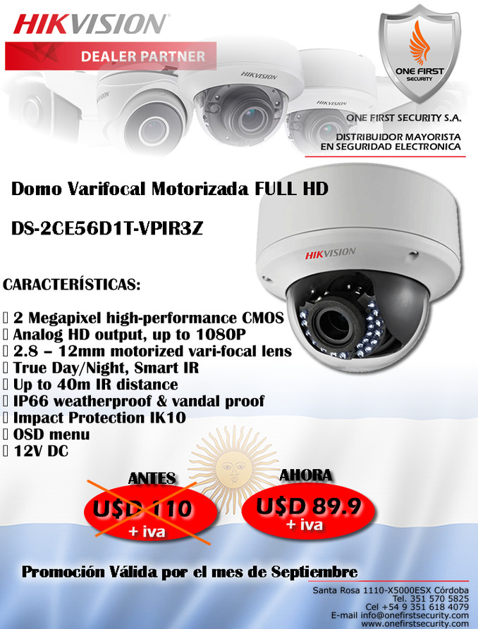 Domo Varifocal Motorizada FULL HD - One First Security