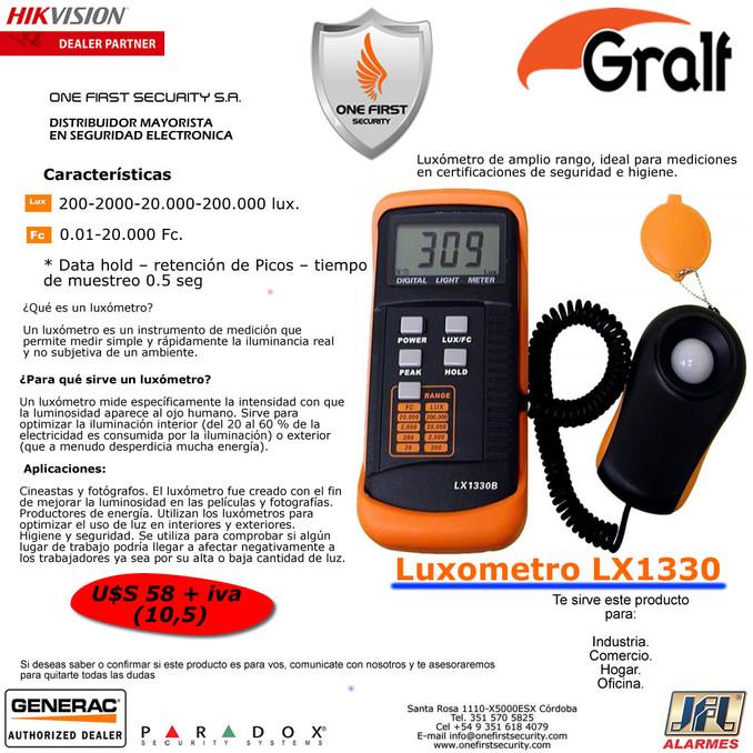 Luxometro Gralf LX1330, ideal para mediciones en certificaciones de Seguridad e Higiene.