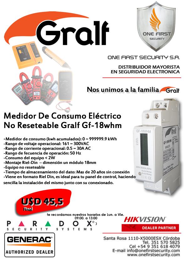 Medidor De Consumo Eléctrico  No Reseteable Gralf Gf-18whm