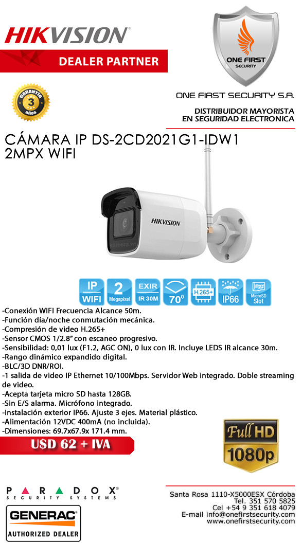 CAMARA HIKVISION IP DS-2CD2021G1-IDW1 2MPX WIFI