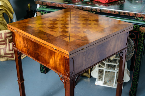Superb Chippendale Marquetry Wood Envelope Chess Game Table. The Table  Opens Up With A Tiny Mechanism Or Spring That When You Turn The Top Of The Table  One ...