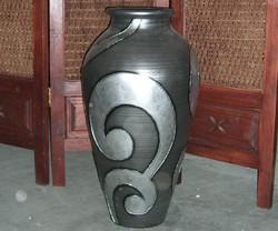 INDIAN POT-BLACK LN-SILVER SULUR B