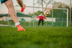 Disparo meta del fútbol