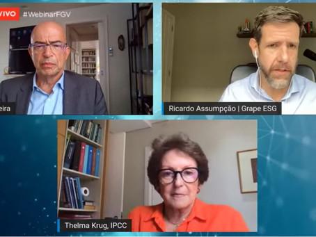 Especialistas debatem mudanças climáticas e a COP 26 em webinar da FGV EAESP com apoio da Grape ESG