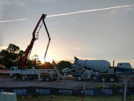 Pouring Ready Mix Concrete in Mt. Juliet, Tennessee.