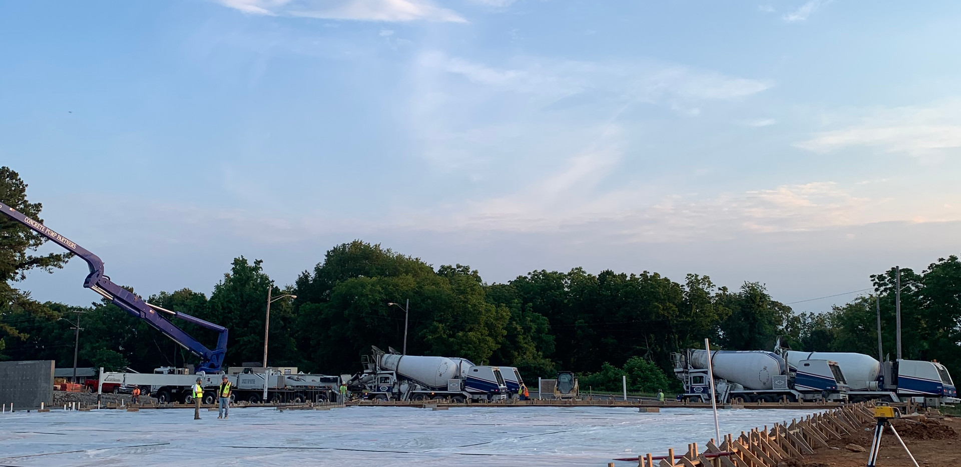 Pyles Concrete Mixer Trucks Lined Up.