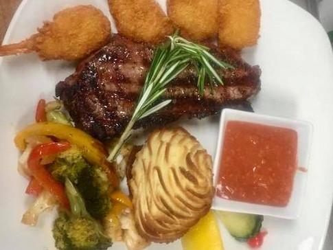 New York Steak & Breaded Shrimp