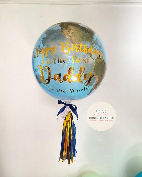 """Planet 22"""" Bubble Earth Balloon"""