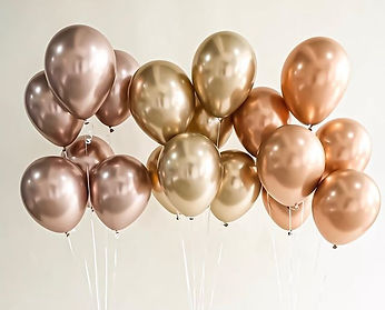Sneak Peek_ Qualatex Gold Chrome balloons (center) side by side with their newly released