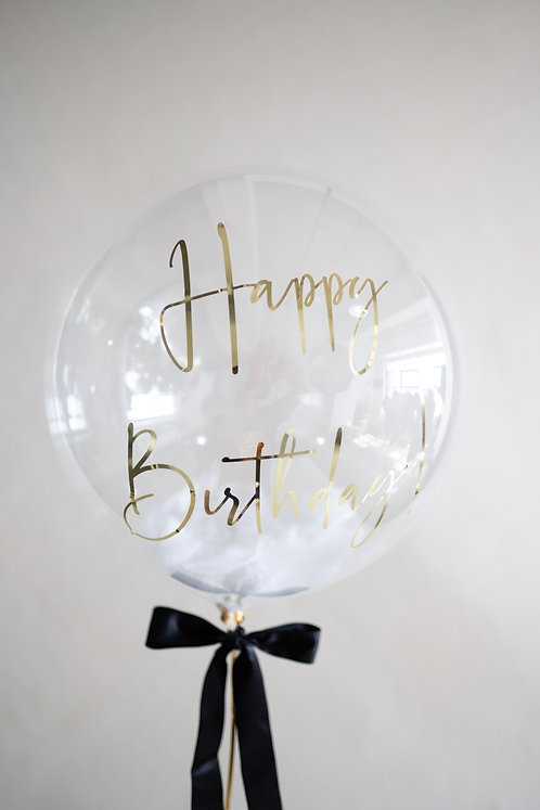 """Bubble 20"""" Greeting with Feather Fillers Balloon"""