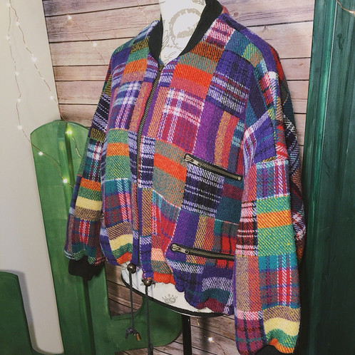 Well-known 80s FOXRUN Colorful Plaid Bomber Jacket | vintage4less GW19