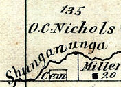 Detail from 1873 map showing location of Ritchie Cemetery in Topeka, Kansas