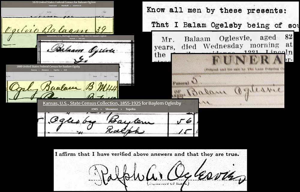 Clips: original source material for Balaam Oglesvie