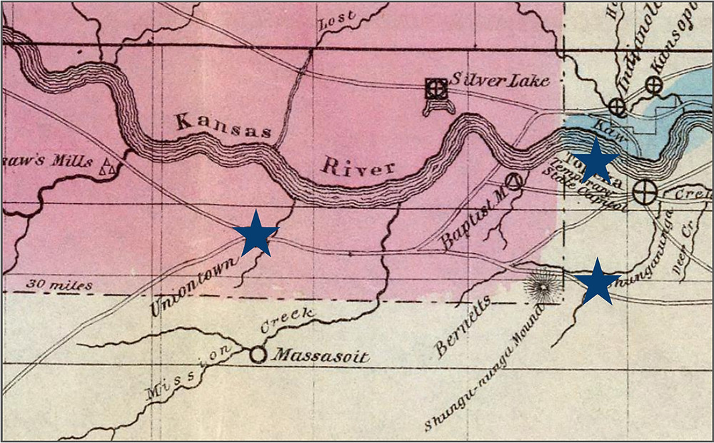 1856 map showing a portion of Shawnee County