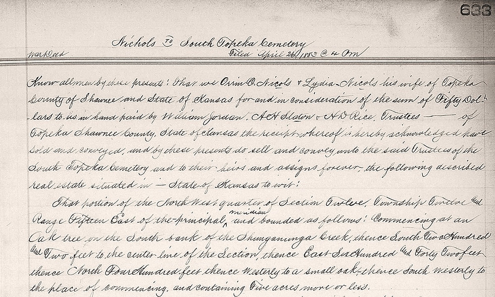 Excerpt from the deed for the cemetery land