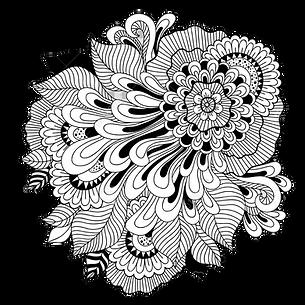 86804088-黒と白の花の背景が透明で着色します。花のタトゥー作品。.p