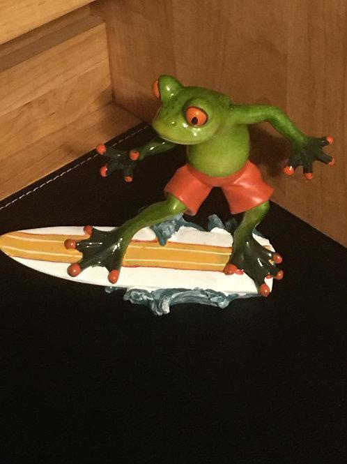 Surfing Frog Figurine