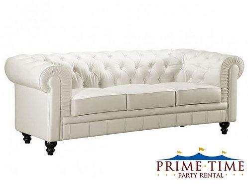 Kingston Tufted White Leather Sofa