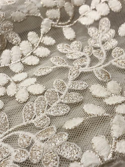 Laurel Leaf Embroidered Sheer Champagne Linen
