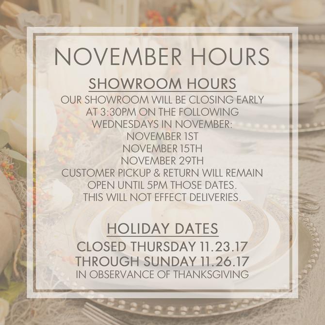 November Showroom Hours