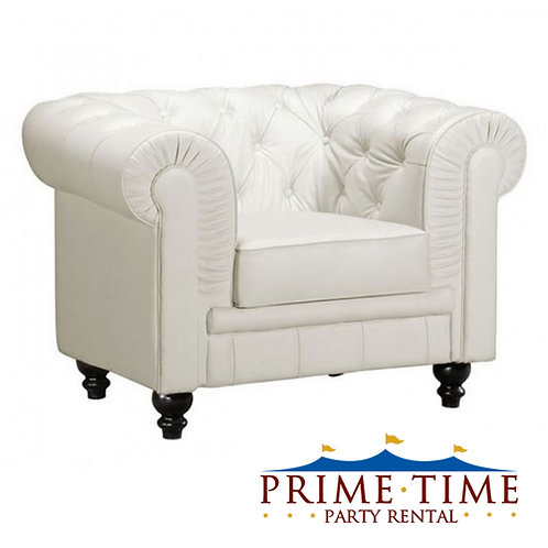 Kingston Tufted White Leather Armchair