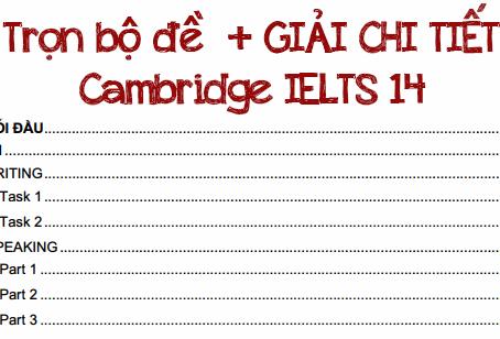 [Full PDF + AUDIO] Trọn bộ đề + giải chi tiết Cambridge IELTS 14