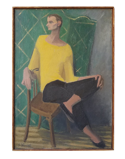 50s painting signed. yellow sweater