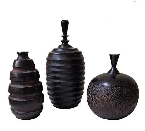 African Wenger wooden jars