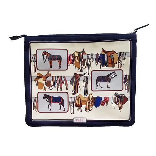 Gucci Horse Frame Print Nylon Travel Pouch