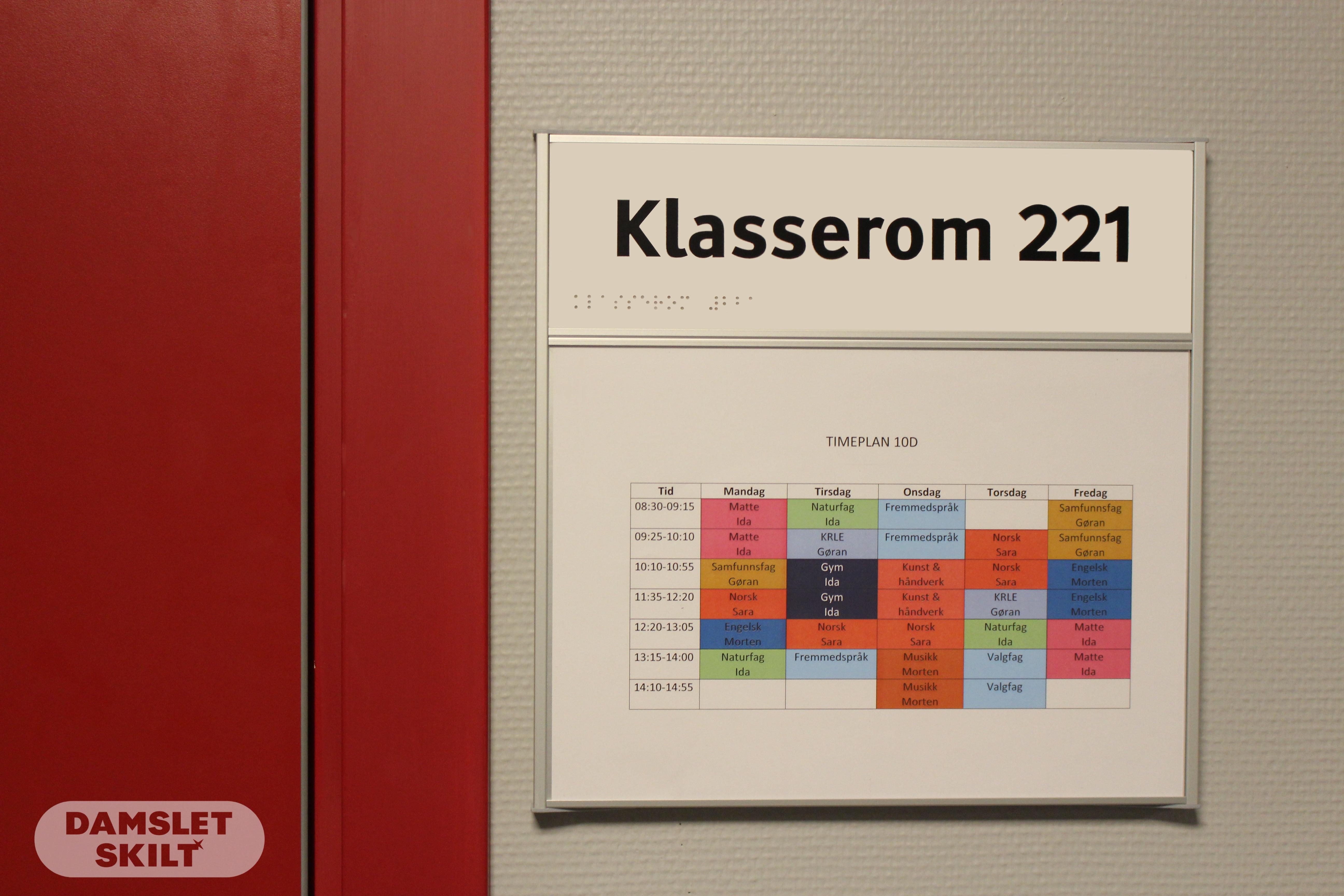 Klasserom skilt med A4 ramme