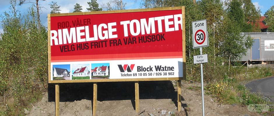 Block Watne anleggskilt