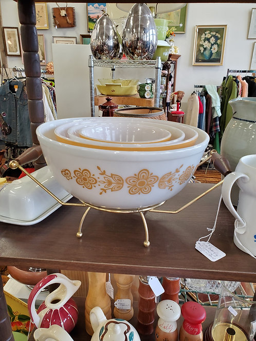 Vintage Butterfly Yellow Pyrex Nesting Bowl Set with Stand