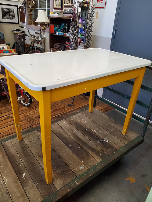 Lovely Yellow and White Enamel Top Table