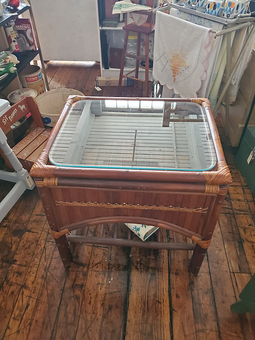 Awesome Vintage Rattan Glass Coffee Table
